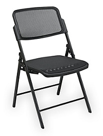 Office Star® Deluxe ProGrid® Mesh Folding Chair – Black/Black (2 Pack)