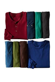 Long-Sleeve Crew-Henley-Mock Tees & Polos
