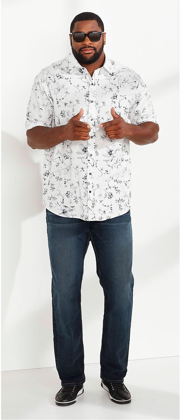 Date Night Look 3 | Synrgy Zen Floral Print Sport Shirt, Levi's 559 Relaxed-Fit Straight-Leg Jeans, Cole Haan® Vartan Sport Oxfords, True Nation Retro Iconic Sunglasses
