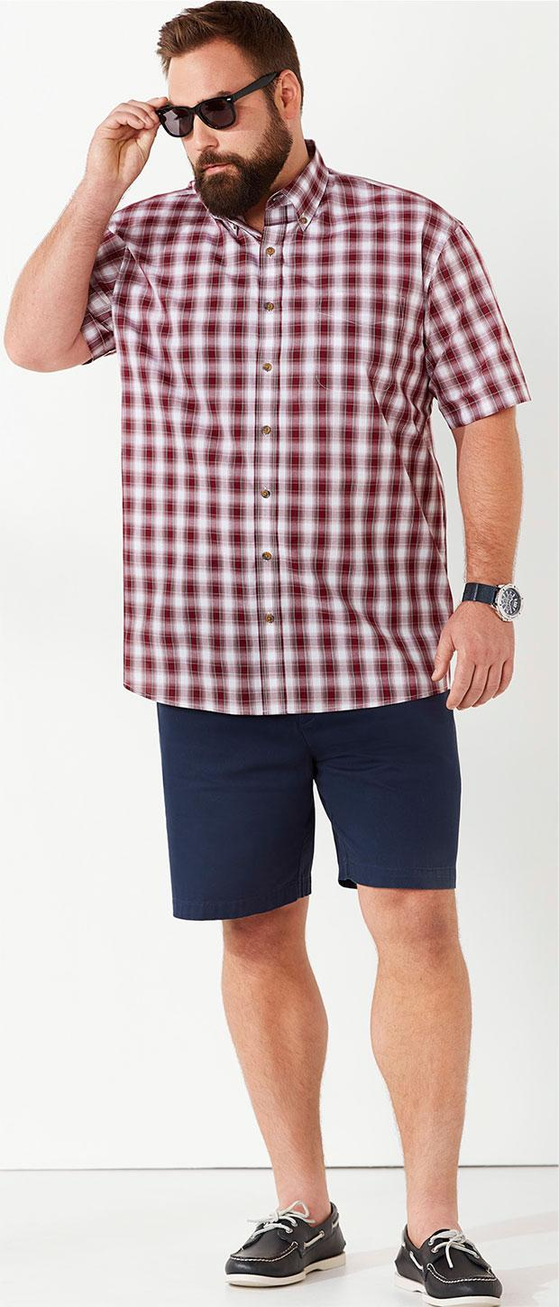 Weekend Casual Look 1 | Harbor Bay Easy-Care Medium Plaid Sport Shirt, Harbor Bay Waist-Relaxer Shorts, Sperry Top Sider Authentic Original Boat Shoes, True Nation Retro Iconic Sunglasses