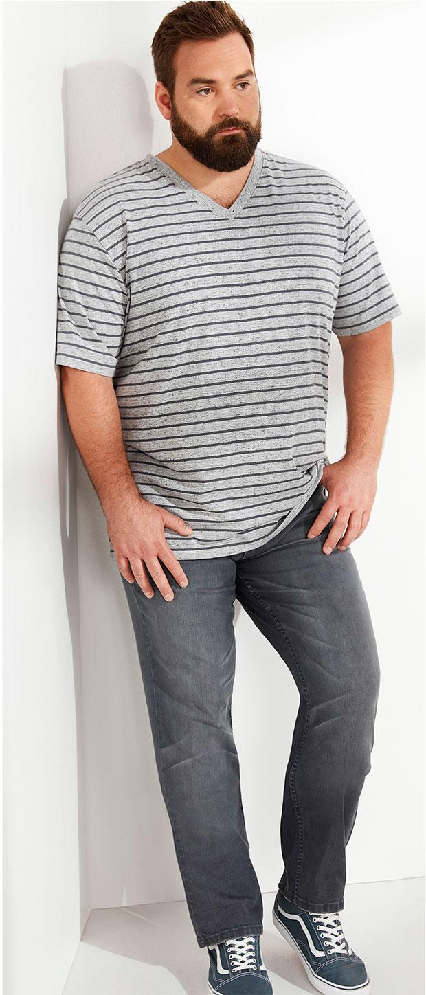 Weekend Casual Look 3 | Harbor Bay Heathered Stripe V-Neck Tee, True Nation Athletic-Fit Stretch Jeans, Vans® Old Skool Oxfords, Under Armour® Blitzing Cap