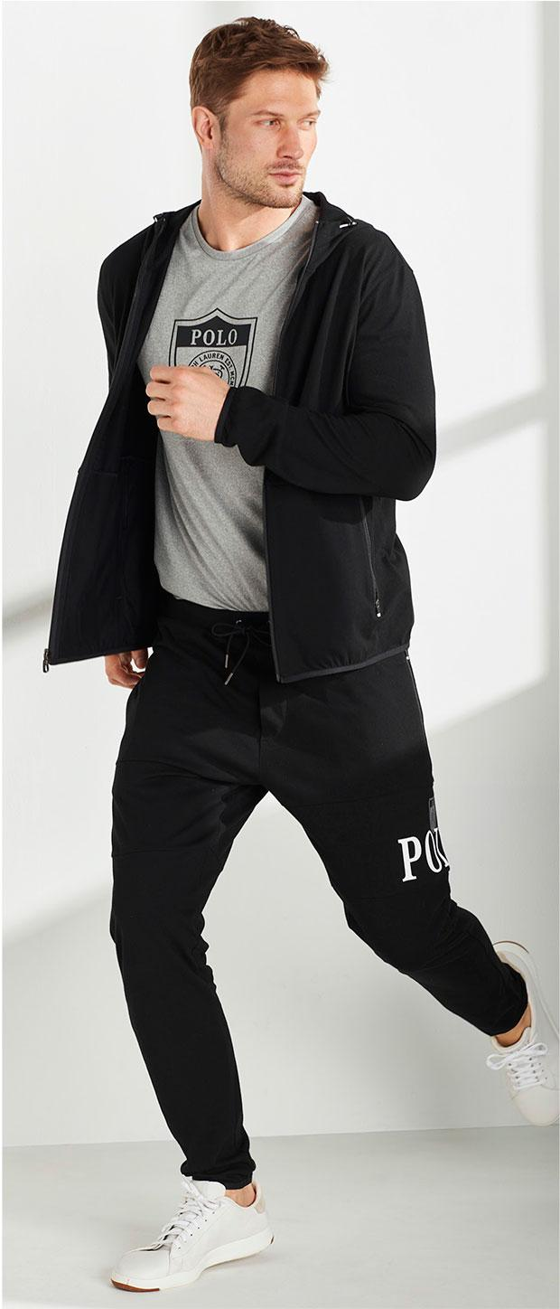 Activewear Look 1 | Polo Ralph Lauren Knit Hooded Track Jacket, Polo Ralph Lauren Active Tee, Polo Ralph Lauren Cotton Jersey Track Pants, Cole Haan® Original GrandPrø Sport Oxfords