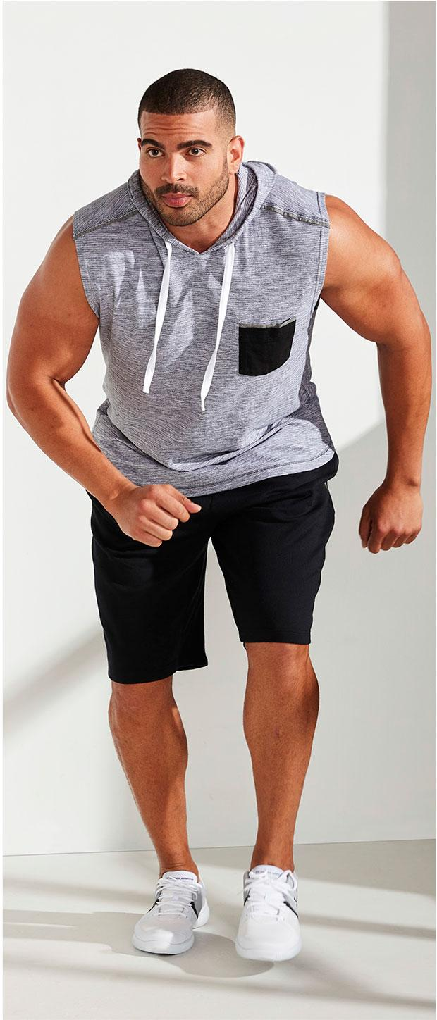 Activewear Look 2 | PX Clothing Textured Sleeveless Tee, Reebok Training Supply Knit Shorts, Under Armour® Zone 3 Trainers