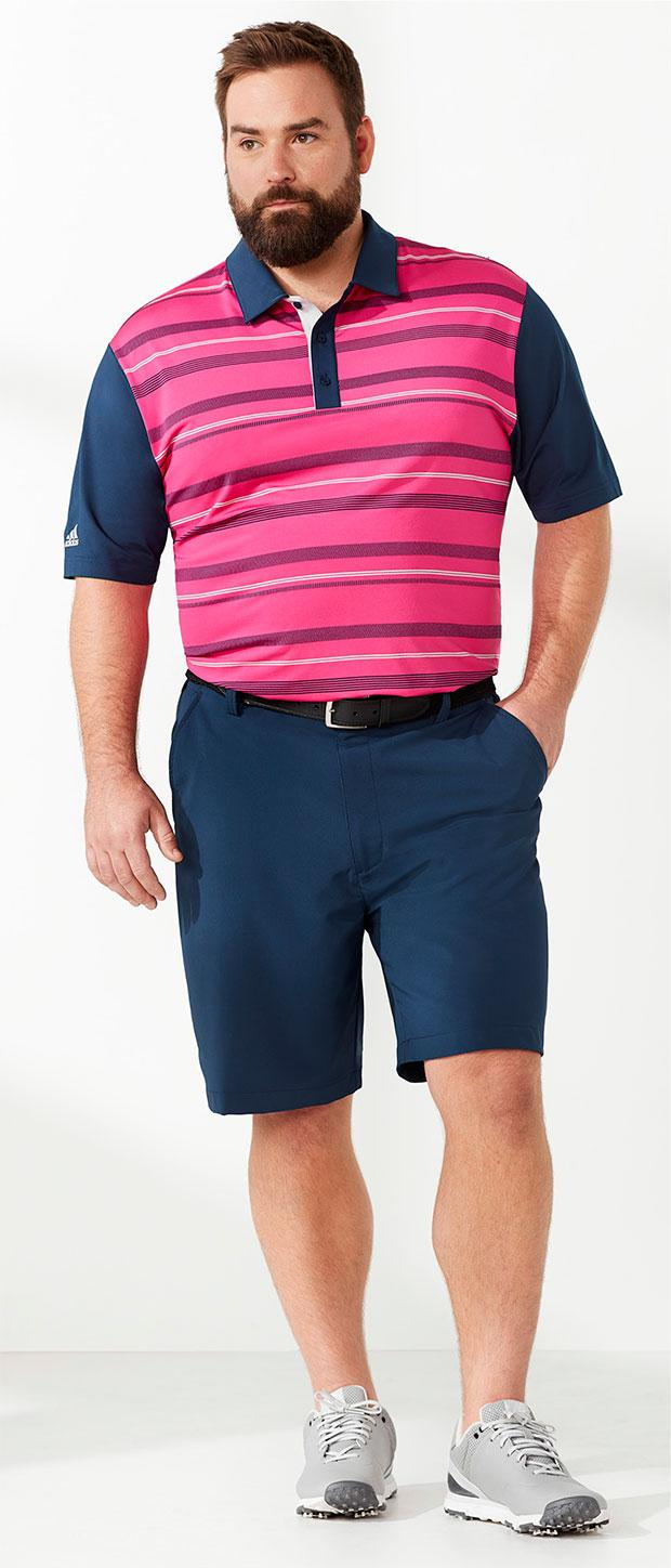 Golf Look 1 | adidas Ultimate Novelty Stripe Polo, Reebok Flat-Front Speedwick Solid Shorts, Harbor Bay Stretch Webbed Belt, New Balance® NBG574 Waterproof Spikeless Golf Shoes