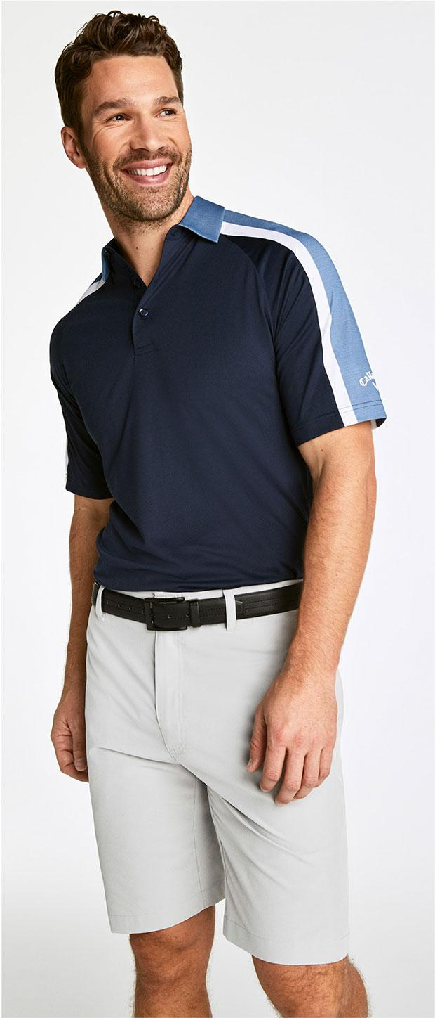 Golf Look 2 | Callaway Birdseye Colorblock Polo, Callaway Lightweight Tech Shorts, Callaway® Balboa Vent Spikeless Golf Shoes