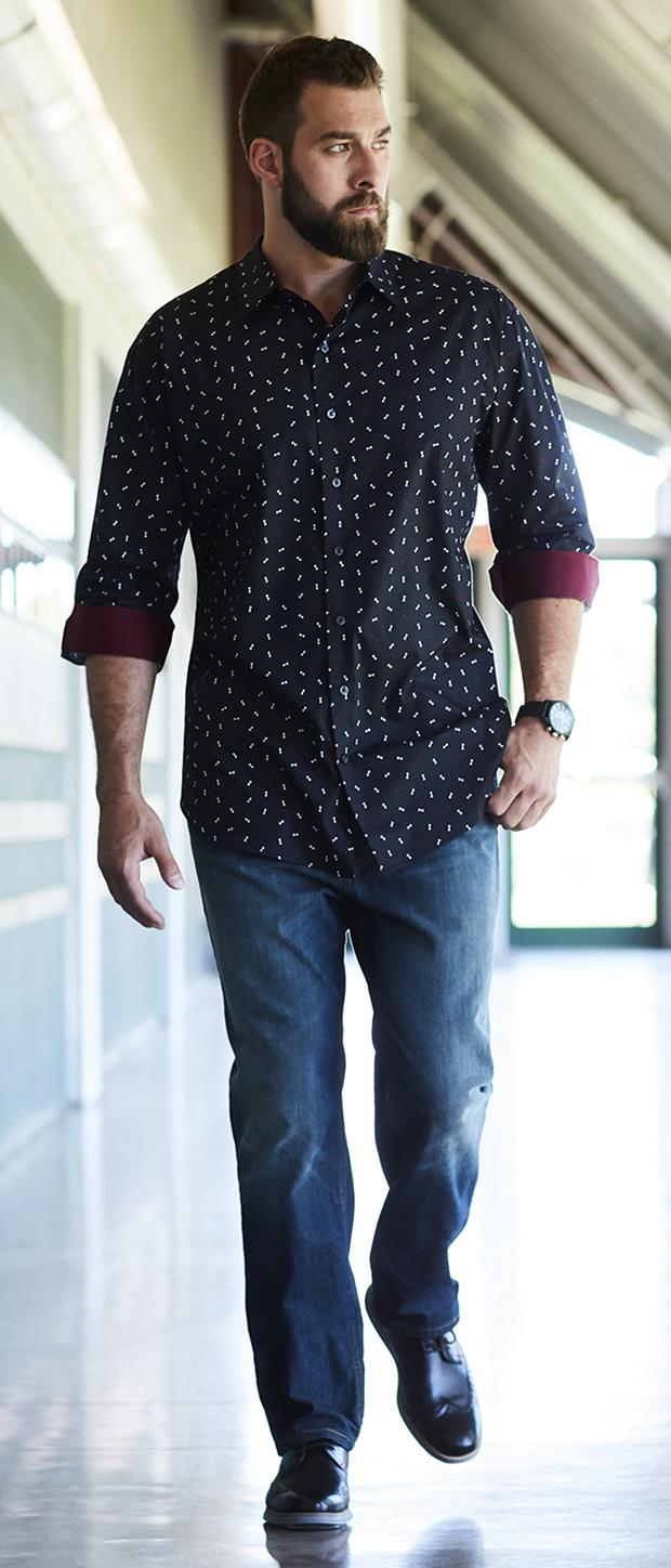DATE NIGHT 2 | Synrgy Bowtie Print Sport Shirt, Levi's 541 Athletic-Fit Stretch Jeans, Cole Haan Original Grand Shortwing Oxfords, Synrgy Mesh Watch