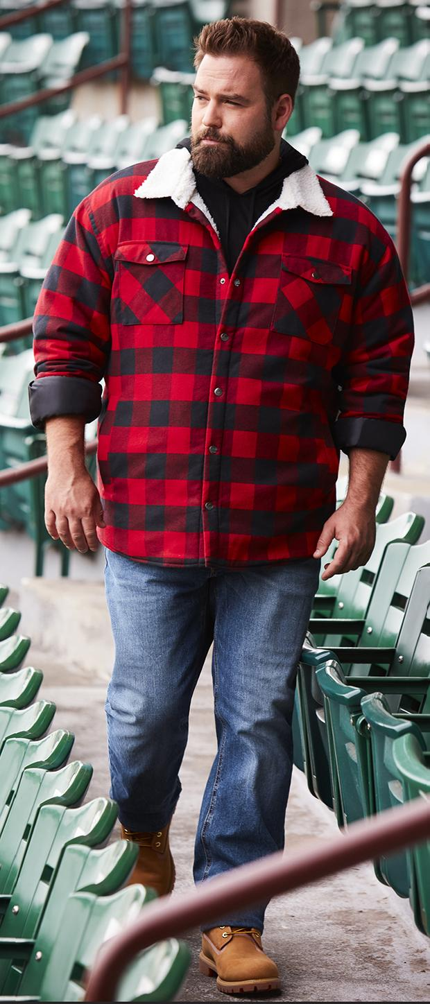 "WEEKEND CASUAL 1 | True Nation Faux Sherpa-Lined Buffalo Plaid Jacket, Lacoste Hooded Long-Sleeve Tee, Levi's 541 Athletic-Fit Stretch Jeans, Timberland 6"" Premium Work Boots"