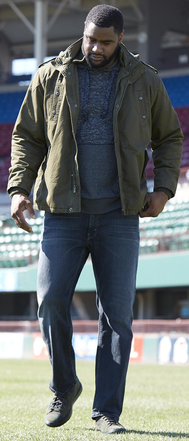 WEEKEND CASUAL 3 | PX Clothing Military-Inspired Cargo Jacket, PX Clothing Raglan-Sleeve Hoodie, Levi's 559 Relaxed-Fit Straight-Leg Jeans