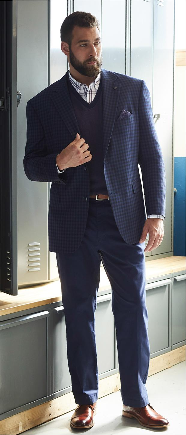 Work & Business Look 1 | Oak Hill Medium Check Sport Coat, Oak Hill Birdseye Sweater Vest, Oak Hill Windowpane Sport Shirt, Oak Hill Straight-Fit Waist-Relaxer Stretch Twill Pants, Harbor Bay® 35MM Reversible Stretch Belt, Stacy Adams Dickenson Cap-Toe Oxfords