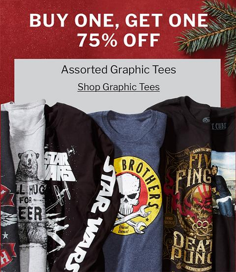 BUY ONE, GET ONE 75% OFF | ASSORTED GRAPHIC TEES