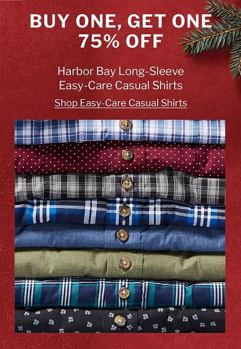 BUY ONE, GET ONE 75% OFF | HARBOR BAY LONG-SLEEVE EASY-CARE CASUAL SHIRTS
