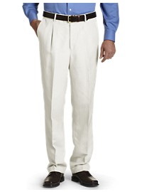 Oak Hill Waist-Relaxer Pleated Linen Suit Pants