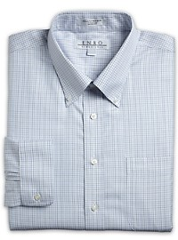 Enro Long-Sleeve Pinpoint Tattersall Dress Shirt