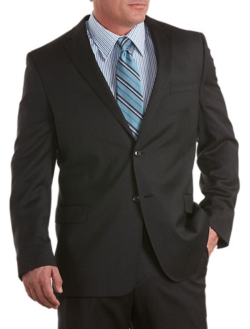 """A refined style, featuring a classic two-button front, notched lapels, welt chest pocket, multiple interior pockets, flap front pockets and center back vent. Fully lined. Wool. Dry clean. Imported.<p><b>Ships directly from manufacturer. See below for delivery times.</b></p><p><b>(Matching flat front pants, <u><a href=""""/mens-big-and-tall-store/catalog/productDetail.jsp?prodId=98700"""">#98700</a></u>,Matching pleated pants, <u><a href=""""/mens-big-and-tall-store/catalog/productDetail.jsp?prodId=98699"""">#98699</a></u> )</b></p><p>To determine the correct length for you, refer to your height in the table below:<br><br>6'2""""&#8211;6'4"""" tall generally wears LONG<br>6'5""""&#8211;6'10"""" tall generally wears X-LONG</p>"""
