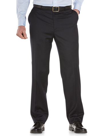 """Innovative """"tekfit"""" technology enables the waistband of these sleek dress pants to expand up to 2"""" for all-day comfort. Styled with a flat front, extended button-front closure, quarter-top side pockets and back button-welt pockets. Lined to the knee; unhemmed. Dry clean. Imported.<p><b>Ships directly from manufacturer. See below for delivery times.</b></p><p><b>(Matching suit jackets, <u><a href=""""/mens-big-and-tall-store/catalog/productDetail.jsp?prodId=98697"""">#98697</a></u>,<u><a href=""""/mens-big-and-tall-store/catalog/productDetail.jsp?prodId=98698"""">#98698</a></u> )</b></p><p>To determine the correct length for you, refer to your height in the table below:<br><br>6'2""""&#8211;6'4"""" tall generally wears LONG<br>6'5""""&#8211;6'10"""" tall generally wears X-LONG</p>"""