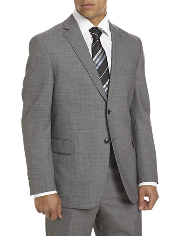 """This classic style has notched lapels, welt chest and flap pockets, multiple interior pockets, a comfort mesh insert and center back vent. Fully lined. Wool/polyester/Lycra. Dry clean. Imported.<p><b>(Matching suit flat-front pants, <u><a href=""""/mens-big-and-tall-store/search/search?Ntt=99751"""">#99751,</a></u> Matching suit pleated pants, <u><a href=""""/mens-big-and-tall-store/search/search?Ntt=99750"""">#99750</a></u>, Executive suit coat, <u><a href=""""/mens-big-and-tall-store/search/search?Ntt=99749"""">#99749,</a></u>)</b></p><p><b> Ships directly from manufacturer. See additional tab for more info.</b></p><p>To determine the correct length for you, refer to your height in the table below:<br><br>6'2""""&#8211;6'4"""" tall generally wears LONG<br>6'5""""&#8211;6'10"""" tall generally wears X-LONG</p>"""