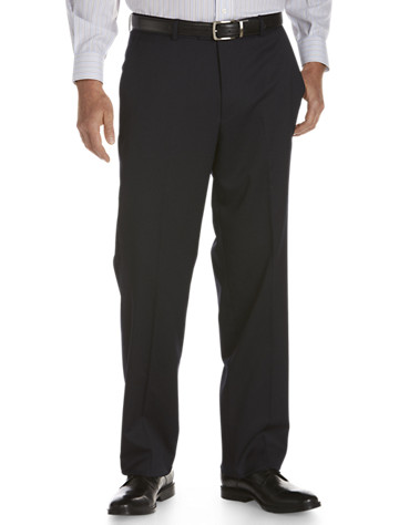 """<p>Classic flat-front suit pants are so versatile. These can be worn with the matching suit coat or separately with a dress shirt, sport shirt, sweater or a blazer.</p><p>&#8226; 52% wool/47% polyester/1% lycra; 100% polyester lining<br/>&#8226; Flat-front style<br/>&#8226; Extended button front closure<br/>&#8226; 1/4 top side pockets and back button welt pockets<br/>&#8226; Lined to the knee<br/>&#8226; Unhemmed<br/>&#8226; Dry clean; imported</p><p><b>(Matching suit pleated pants, <u><a href=""""/mens-big-and-tall-store/catalog/productDetail.jsp?prodId=99759"""">#99759,</a></u> Matching suit coat, <u><a href=""""/mens-big-and-tall-store/catalog/productDetail.jsp?prodId=99756"""">#99756</a></u>, Executive suit coat, <u><a href=""""/mens-big-and-tall-store/catalog/productDetail.jsp?prodId=99757"""">#99757,</a></u>)</b></p><p>To determine the correct length for you, refer to your height in the table below:<br><br>6'2""""&#8211;6'4"""" tall generally wears LONG<br>6'5""""&#8211;6'10"""" tall generally wears X-LONG<"""