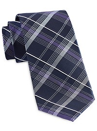 Michael Kors Simplistic Plaid Silk Tie