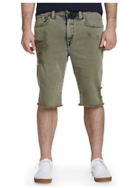 True Religion Ricky Stretch Ripped Denim Shorts