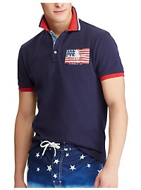 Polo Ralph Lauren Classic Fit USA Flag Patch Polo Shirt
