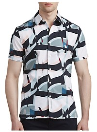 Perry Ellis Oversized Geometric-Print Sport Shirt