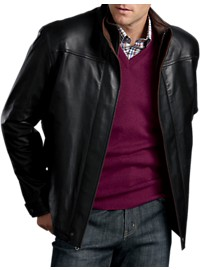 Remy Double-Collar Open-Hem Leather Bomber Jacket