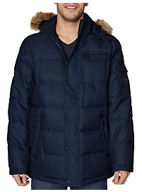 Nautica Faux Fur Hooded Quilted Jacket