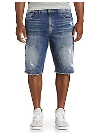 True Religion Ripped Denim Shorts with Zipper Detail