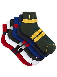 Polo Ralph Lauren 6-pk Rugby Stripe Quarter-Top Socks