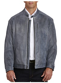 Remy Distressed Leather Bomber Jacket