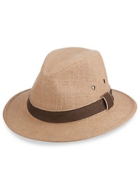 Dorfman Pacific Hemp Safari Hat with Leather Trim