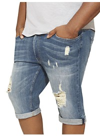 MVP Collections Distressed Stretch Denim Shorts