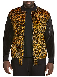 MVP Collections Velour Baroque Bomber Jacket
