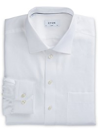Eton Herringbone-Weave Solid Dress Shirt