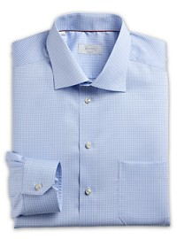 Eton Herringbone-Weave Mini Gingham Dress Shirt