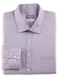 Michael Kors Non-Iron Dobby Mini Check Stretch Dress Shirt