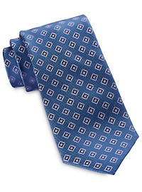 Rochester Small Diamond Medallion Silk Tie