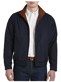 Remy Leather-Trim Microfiber Bomber Jacket
