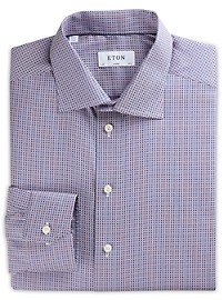 Eton Diamond Geometric Dobby Dress Shirt