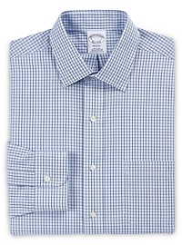 Brooks Brothers Non-Iron Double Windowpane Check Dress Shirt