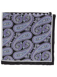 Rochester Large Paisley Neat Multi Silk Pocket Square