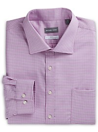 Michael Kors Non-Iron Textured Mini Check Stretch Dress Shirt