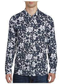 Michael Kors Abstract Floral Print Linen Sport Shirt