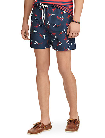 """<p>Set sail in style with Polo Ralph Lauren's lined swim trunks, which are printed with an array of anchors and knotted ropes.</p><p>&#8226; 100% polyester<br/>&#8226; Elastic drawstring waistband<br/>&#8226; On-seam side pockets, button-close pocket at back right<br/>&#8226; Metal drainage grommets at back of waist and back pocket<br/>&#8226; Woven """"Polo Ralph Lauren Swimwear"""" label with palm tree graphic at back pocket<br/>&#8226; Mesh brief liner<br/>&#8226; Signature embroidered pony at front left hem<br/>&#8226; Size Big 2XL: 12&#190;"""" rise, 6&#189;"""" inseam; Size Tall 2XLT: 13"""" rise, 7"""" inseam<br/>&#8226; Machine wash; imported</p>"""