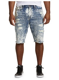 True Religion Ricky Acid Wash Denim Shorts