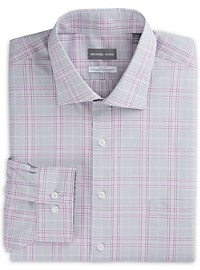 Michael Kors Non-Iron Large Plaid Stretch Dress Shirt