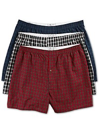 Harbor Bay 3-pk Tartan Plaid Woven Boxers