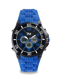 True Nation Blue Anadigit Rubber-Banded Watch
