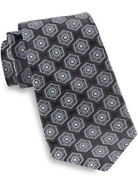 Gold Series Designed in Italy Large Circle Medallion Silk Tie