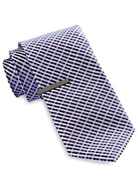 Gold Series Mini Gingham Grid Tie with Tie Bar
